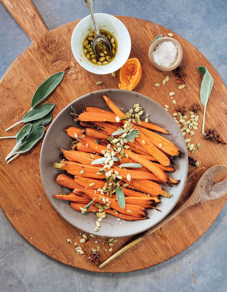 Honey Roasted Carrots with Spicy Citrus, Sage & Pepitas -easy thanksgiving side dish, honey glazed carrots