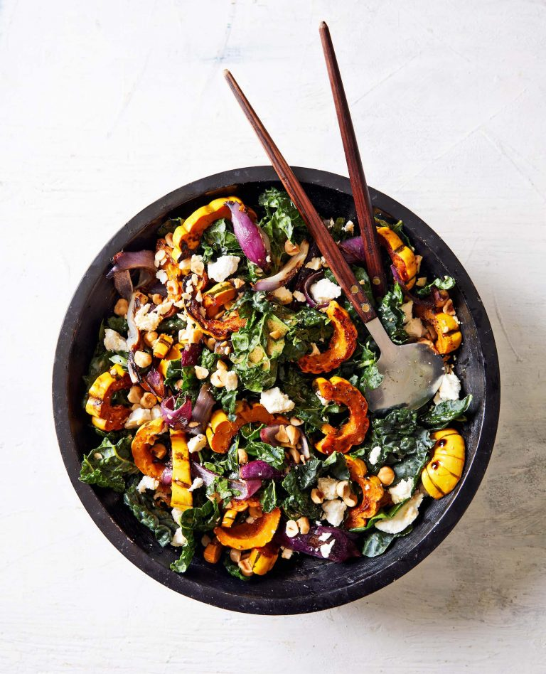 This Roasted Delicata Squash & Kale Salad Is On My Thanksgiving Menu