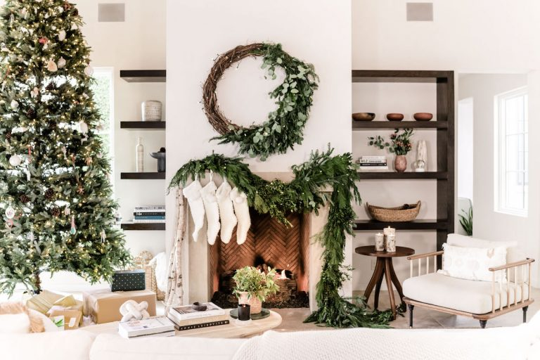 camille styles christmas garland fireplace mantel
