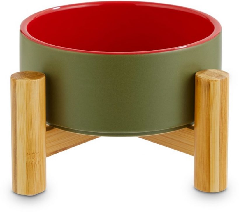 reddy-olive-ceramic-bamboo-elevated-pet-bowl-3-5-cups