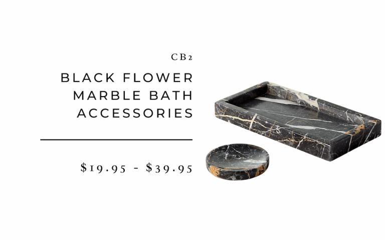CB2 : Black Flower Marble Bath Accessories