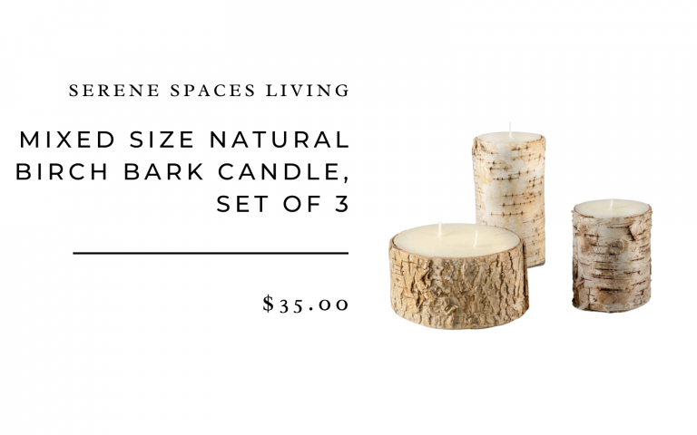 Natural Birch Bark Candle, Set of 3
