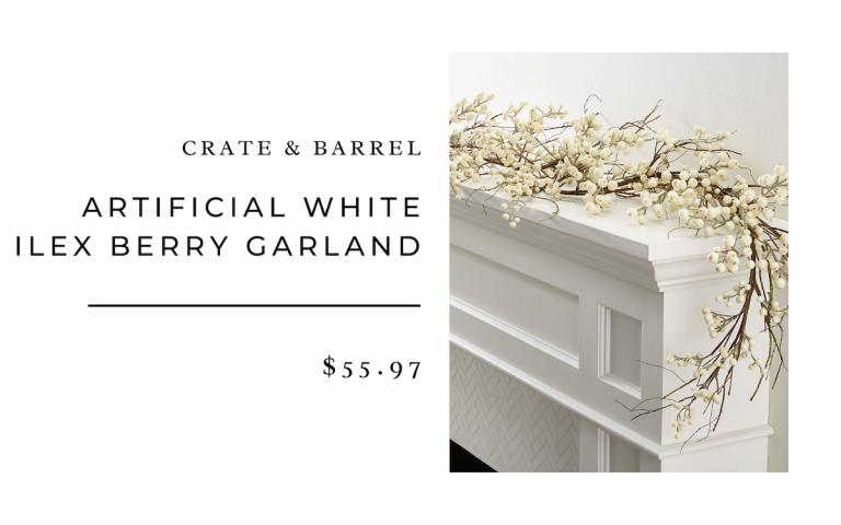 Crate & Barrel Artificial White Ilex Berry Garland