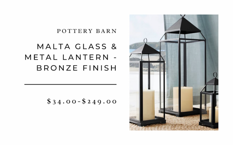 Malta Glass and Metal Lantern - Bronze Finish