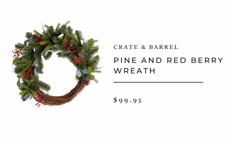 Crate & Barrel Pine and Red Berry Wreath