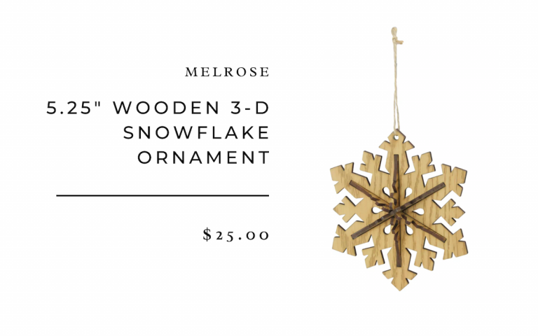 """Melrose 5.25"""" Wooden 3 Dimensional 6 Point Snowflake Christmas Ornament"""