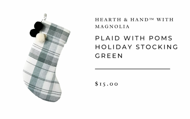 Hearth & Hand™ with Magnolia Plaid with Poms Holiday Stocking Green