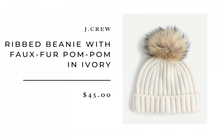 Ribbed Beanie with Faux-Fur Pom-Pom in Ivory