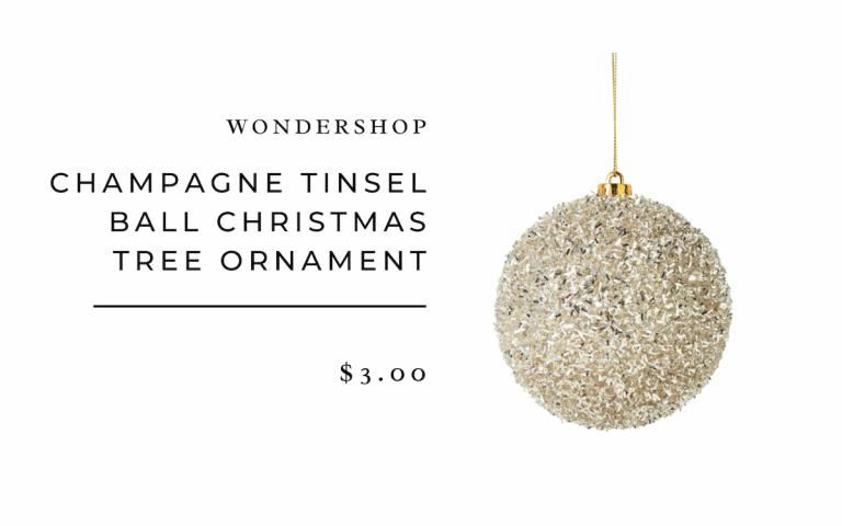 Champagne Tinsel Ball Christmas Tree Ornament