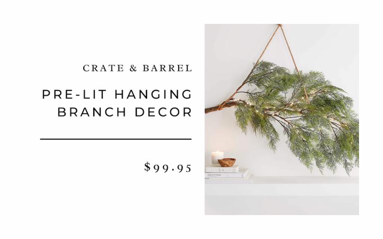 Crate & Barrel Pre-Lit Hanging Branch Decor
