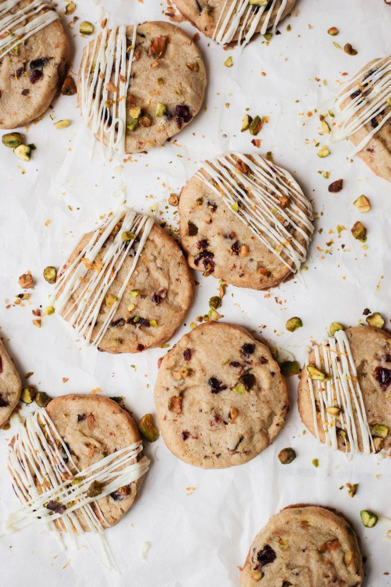 cranberry, pistachio, orange, cardamom, and white chocolate cookies