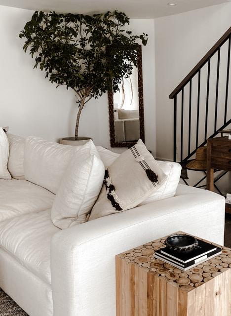 white neutral cozy living room