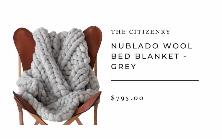 Nublado Grey Wool Throw Large