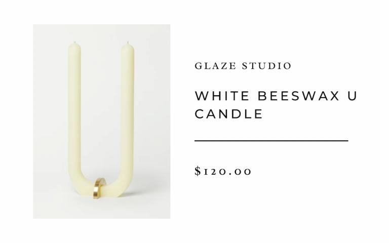 Glaze Studio White Beeswax U Candle