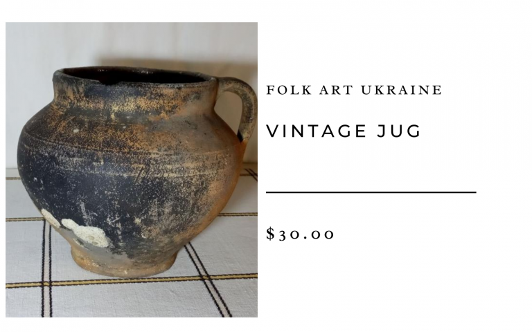 Folk Art Ukraine Vintage Jug Antique Tableware