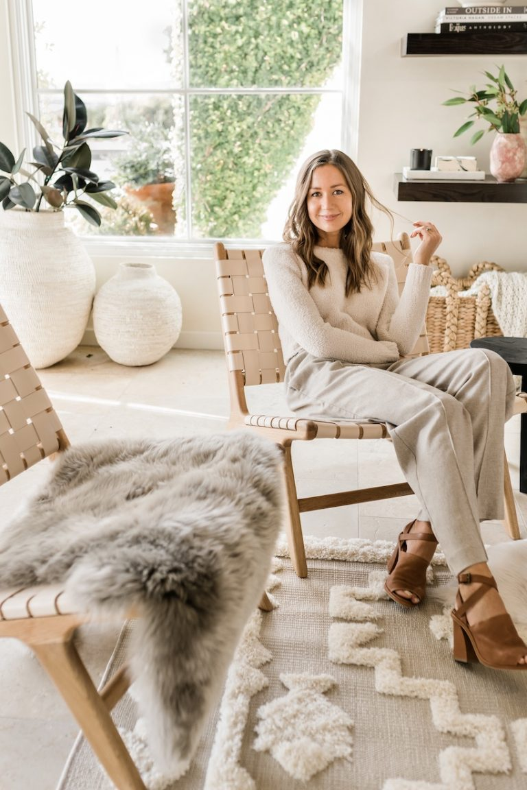 Camille Styles neutral living room at home in Austin