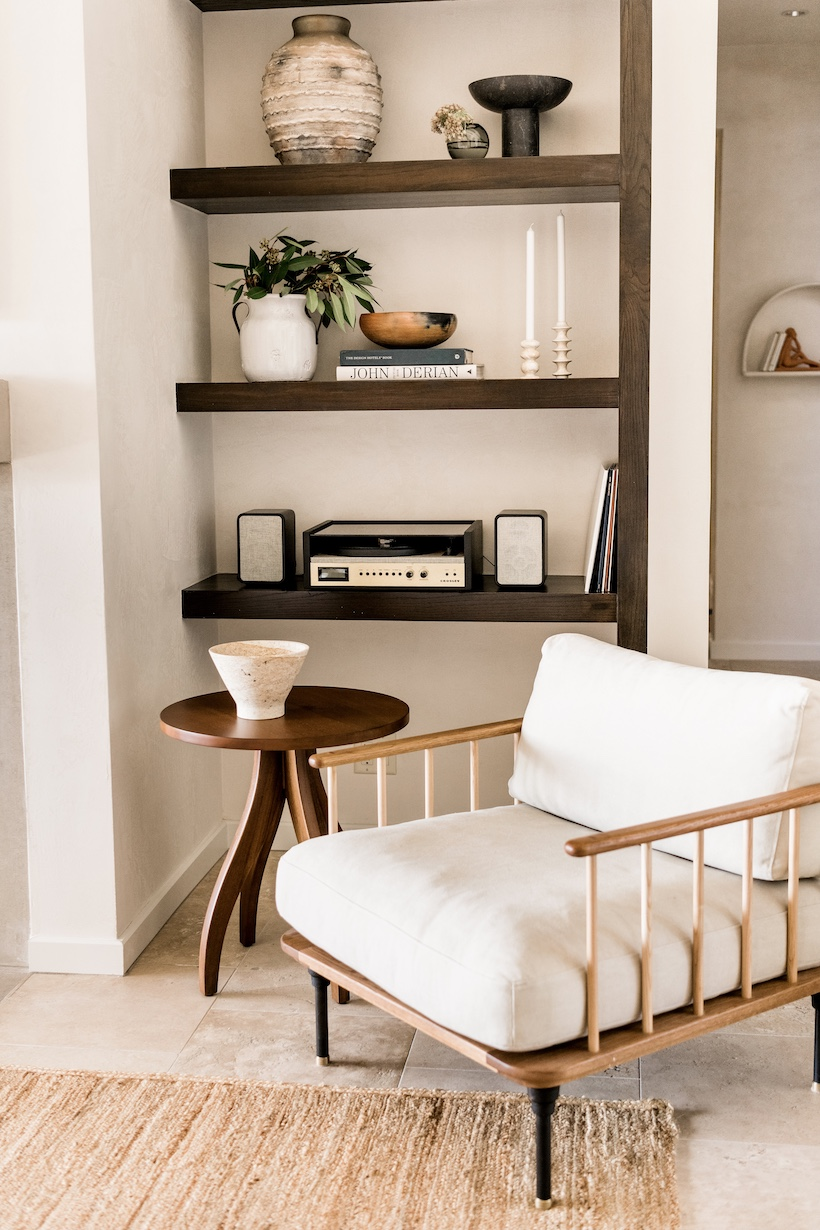 open shelving neutral living room styling ideas