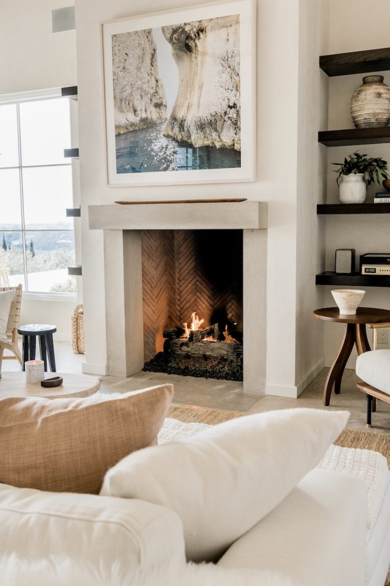 modern fireplace - neutral living room in Austin