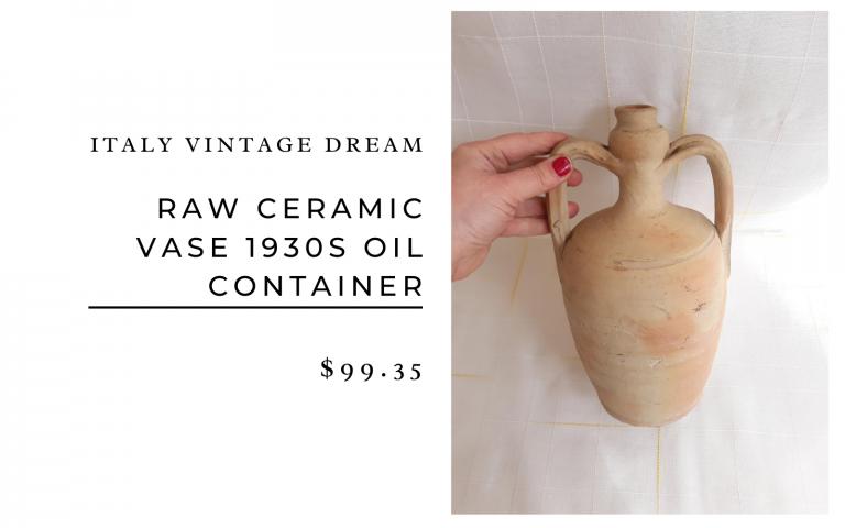 Italy Vintage Dream Raw Ceramic Vase 1930s Oil Container