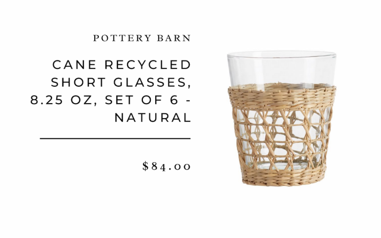 Pottery Barn Cane Recycled Short Glasses, 8.25 oz, Set of 6 - Natural