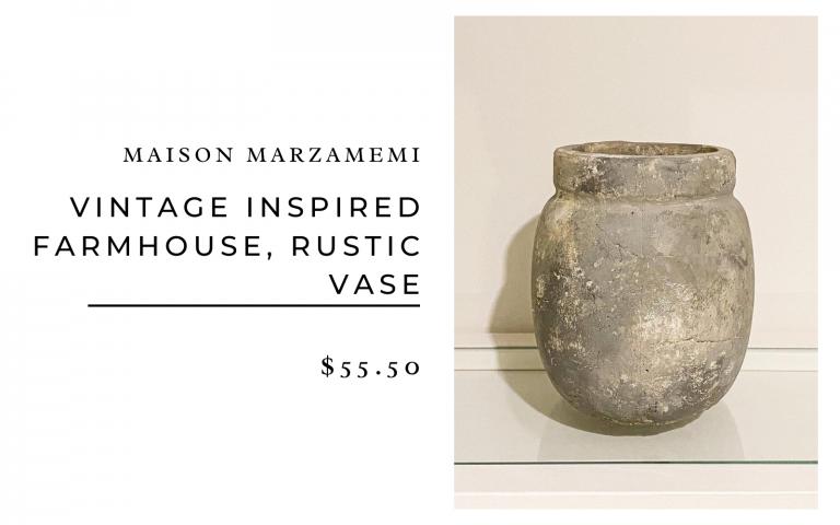 Maison Marzamemi Vintage Inspired Farmhouse Rustic Vase $55.50