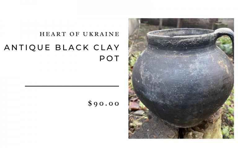 Heart of Ukraine Antique Black Clay Pot