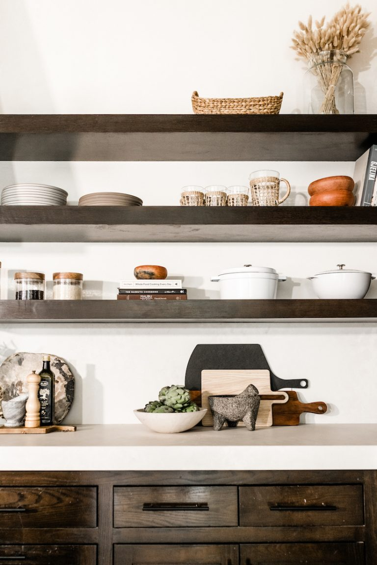 camille styles kitchen makeover on a budget - open shelving