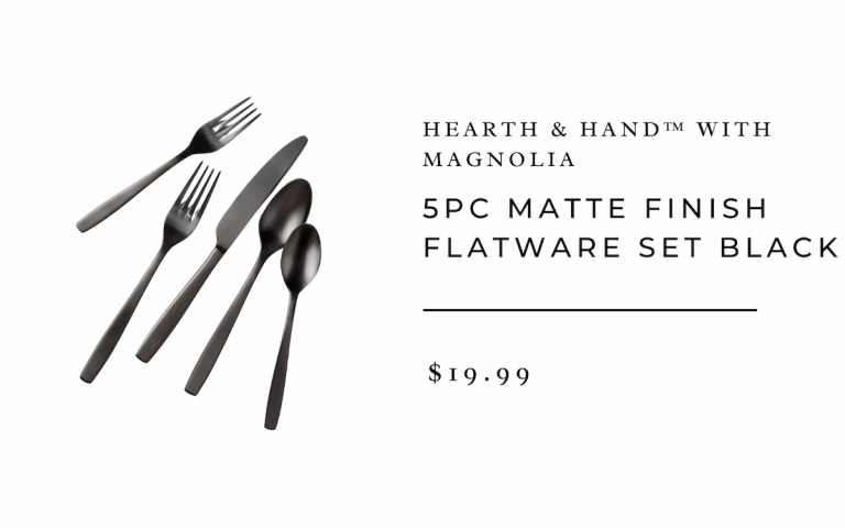 5pc Matte Finish Flatware Set Black - Hearth & Hand™ with Magnolia