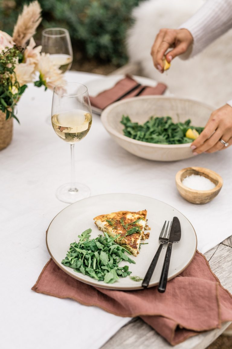 Brunch idea for making a frittata - red pepper, spinach and goat cheese