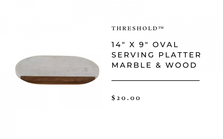 "14"" x 9"" Oval Serving Platter Marble & Wood - Threshold™"