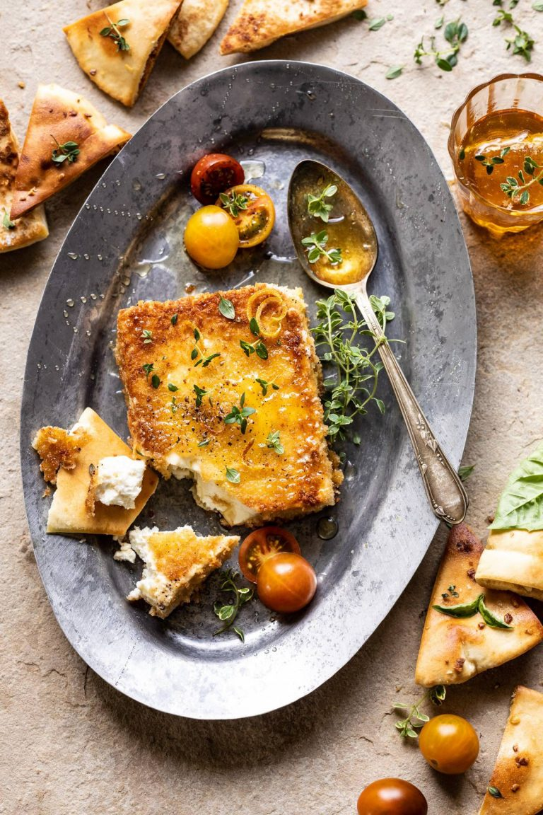 pan-fried feta with peppered honey half baked harvest