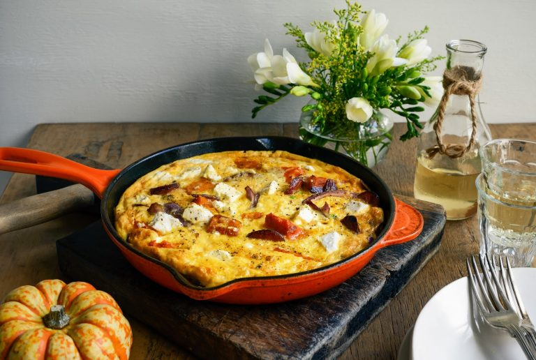 pumpkin, pea & chorizo frittata with feta & red onion