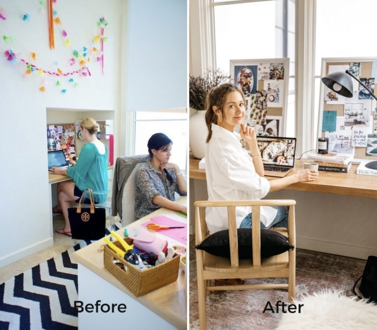 before and after camille styles home office