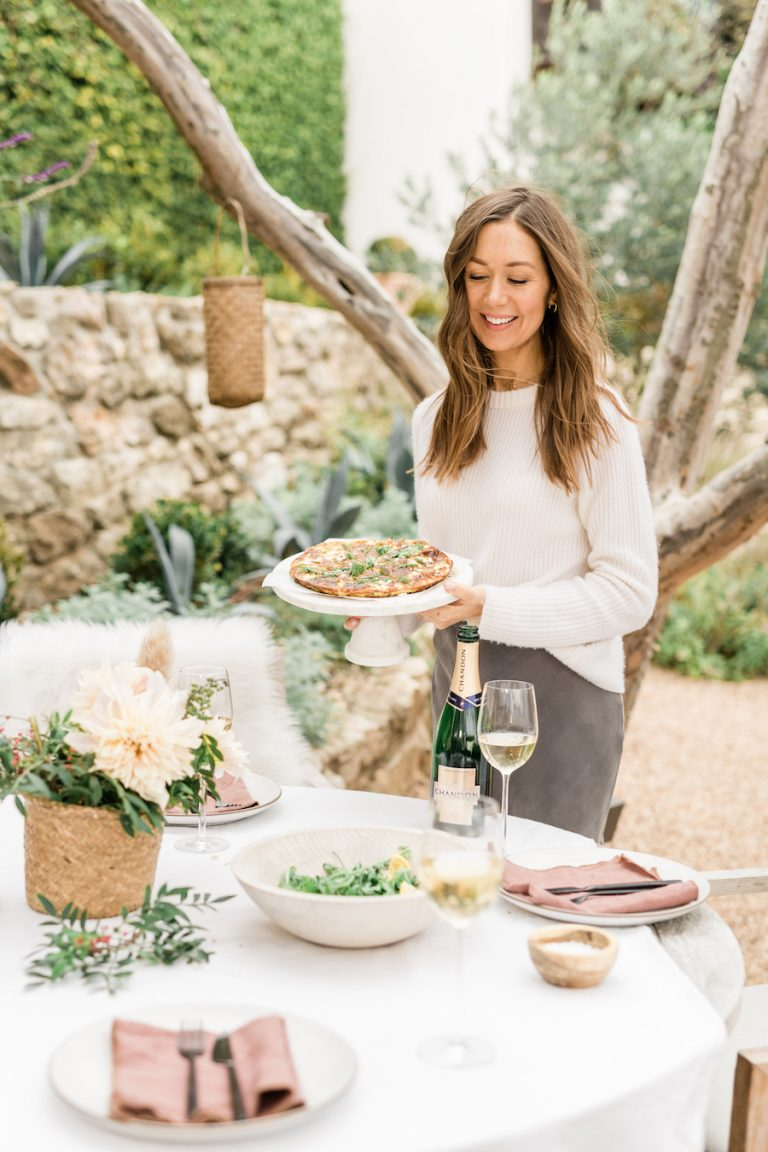 Camille Styles in the backyard brunch with frittata