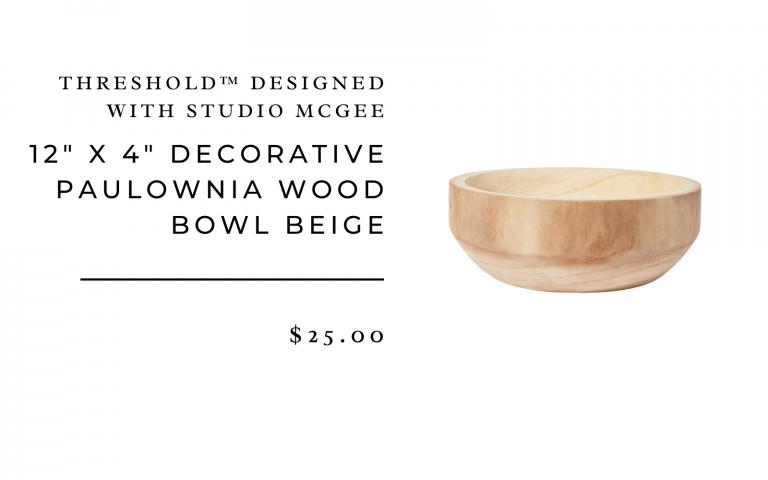 "12"" x 4"" Decorative Paulownia Wood Bowl Beige - Threshold™ designed with Studio McGee"