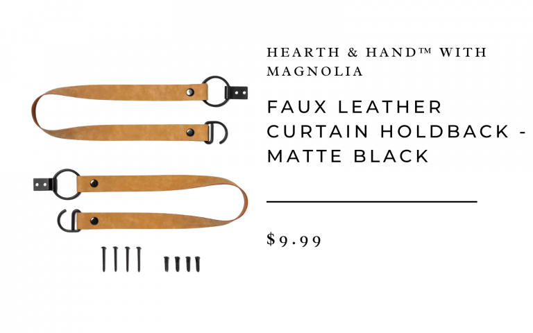Faux Leather Curtain Holdback - Matte Black - Hearth & Hand™ with Magnolia