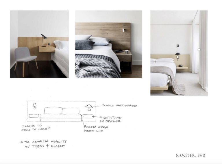 custom wood bed with built-in nightstands inspiration and design