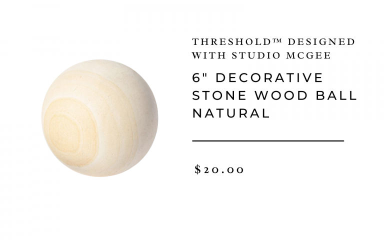 "6"" Decorative Stone Wood Ball Natural - Threshold™ designed with Studio McGee"