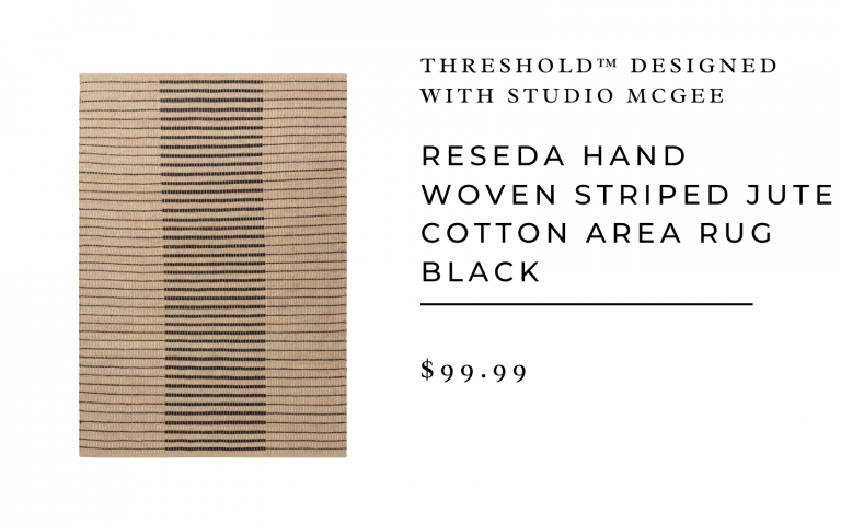 Reseda Hand Woven Striped Jute Cotton Area Rug Black - Threshold™ designed with Studio McGee 5x7