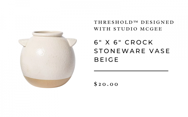"6"" x 6"" Crock Stoneware Vase Beige - Threshold™ designed with Studio McGee"