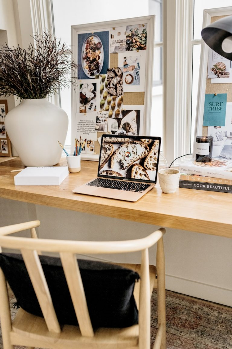 camille styles neutral home office with wood built-in desk