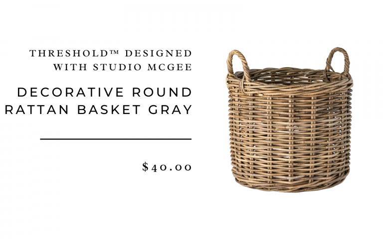 Decorative Round Rattan Basket Gray - Threshold™ designed with Studio McGee