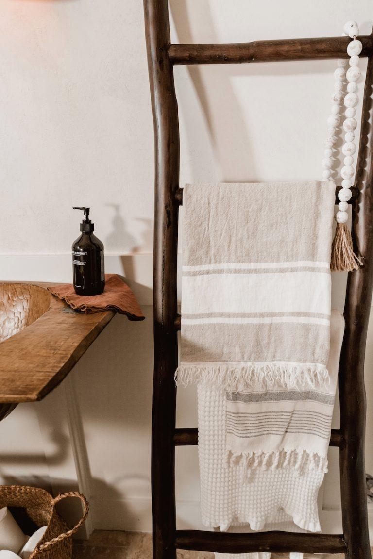 Camille Styles powder bath with rustic trough sink DIY
