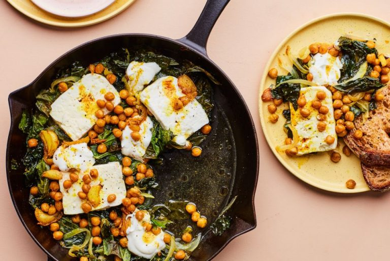 Baked Feta and Greens with Lemony Yogurt