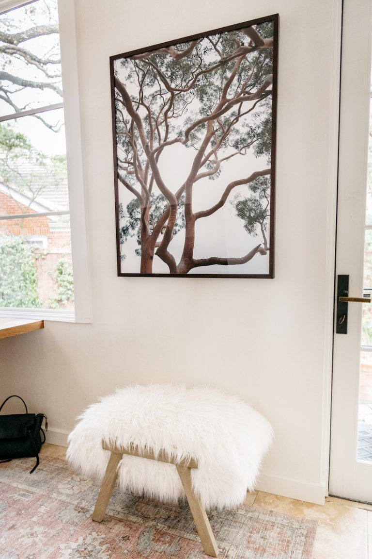camille's home office with furry stool and eucalyptus photograph