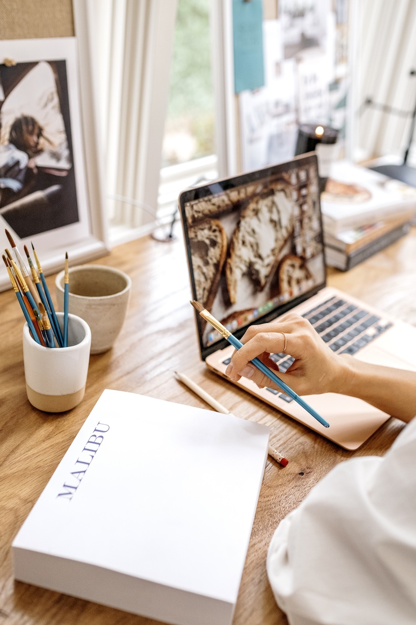 work from home with coffee and computer