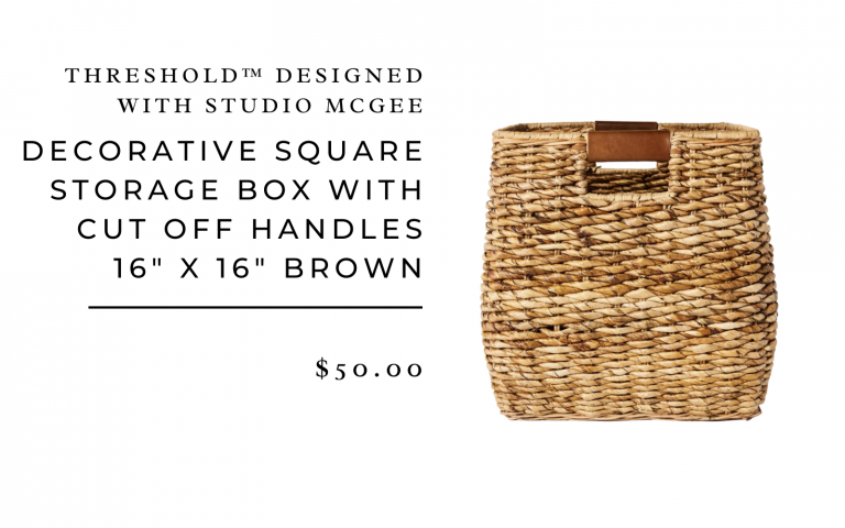 "Decorative Square Storage Box with Cut Off Handles 16"" x 16"" Brown - Threshold™ designed with Studio McGee"