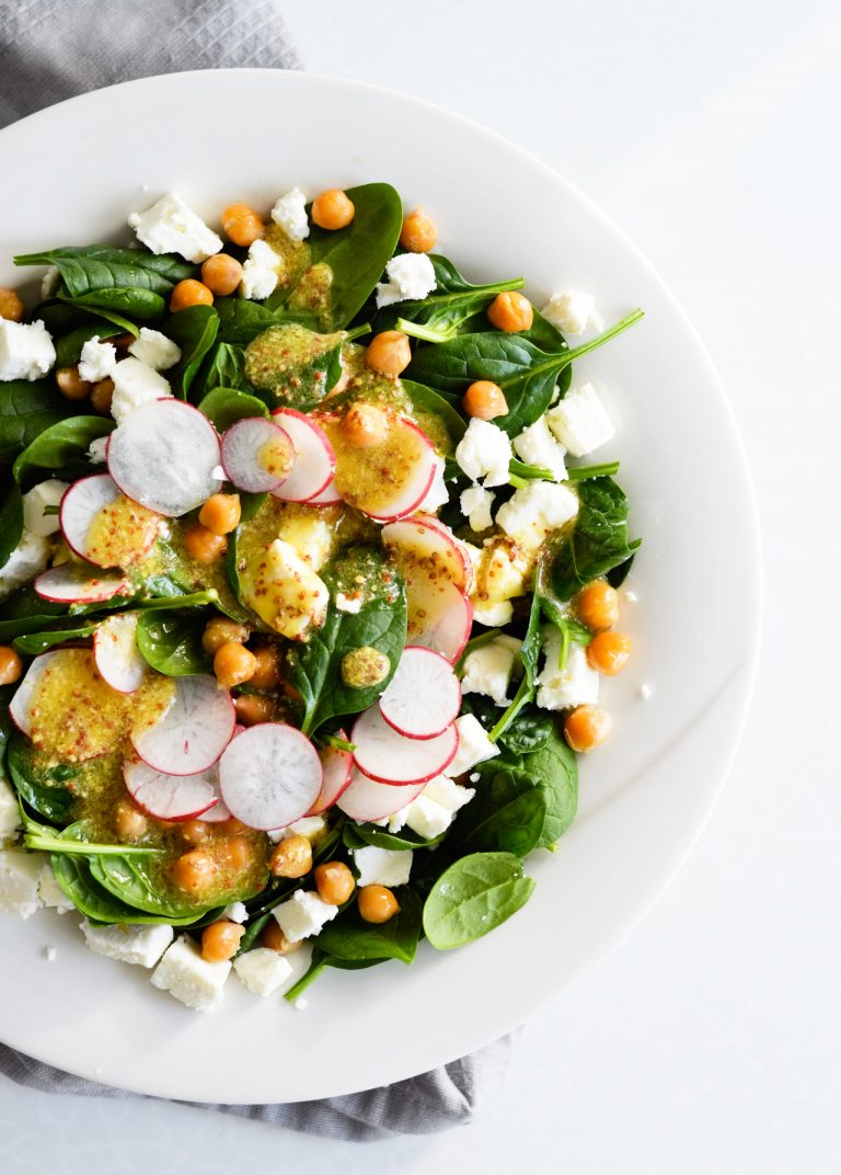 Crispy Chickpea Spinach Salad With Mustard Dressing Feta