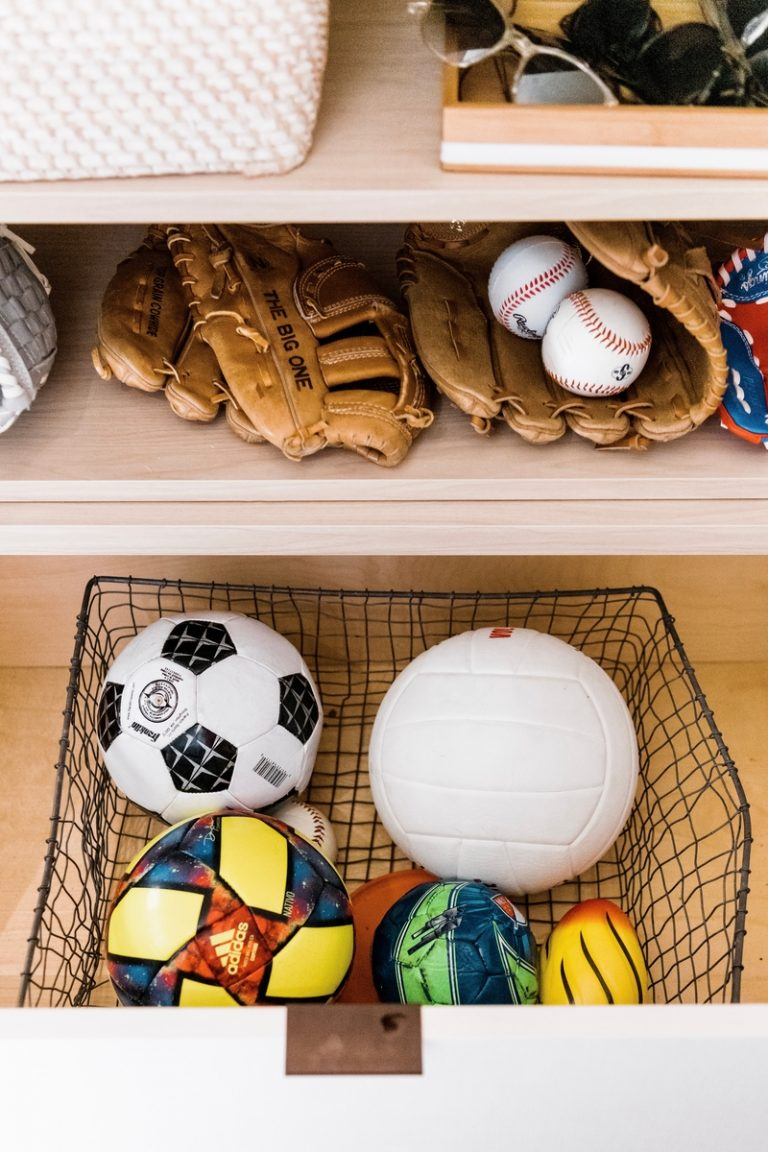 how to organize sports equipment in the entryway