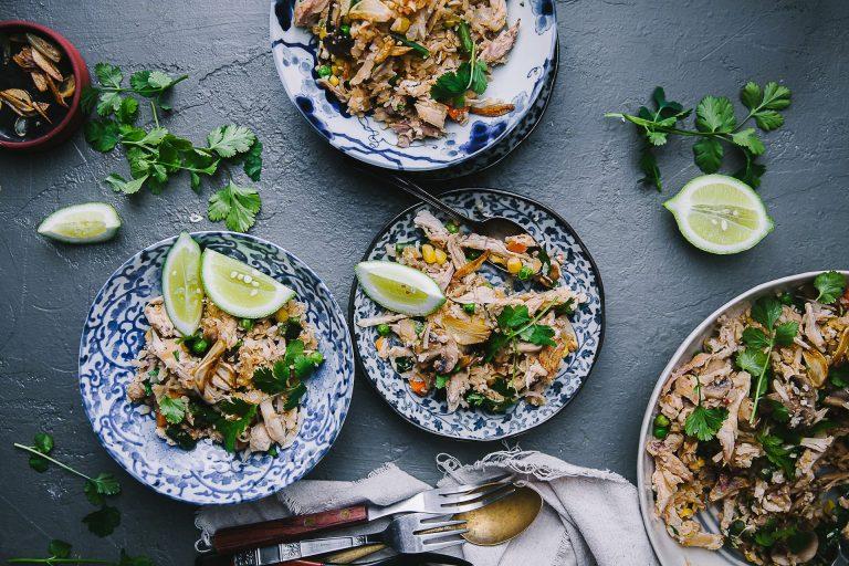 Cauliflower Fried Rice with Mushroom Chicken—cauliflower rice